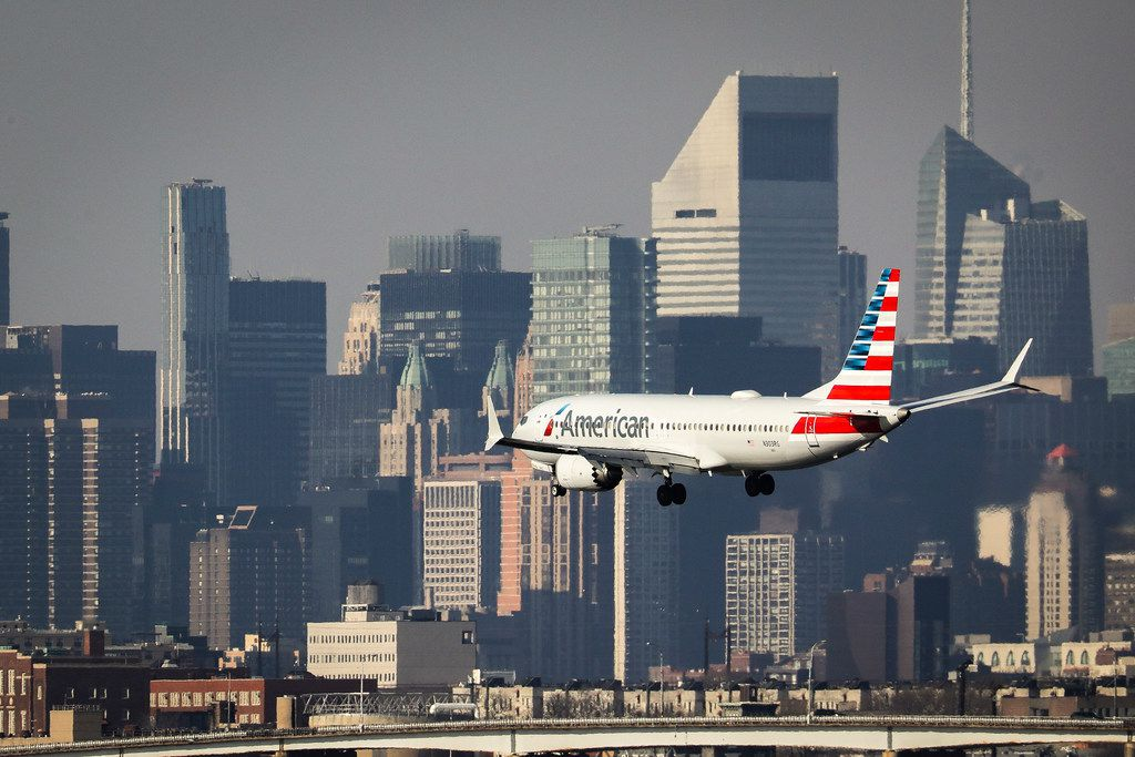 An American Airlines Boeing 737 Max 8 on a flight from Miami to New York City landed at LaGuardia Airport on Monday morning in the Queens borough of New York City.