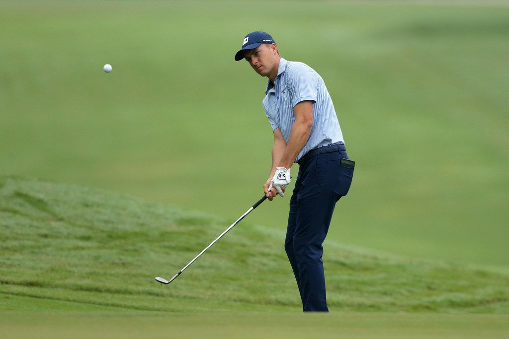 GREENSBORO, NORTH CAROLINA - AUGUST 02: Jordan Spieth plays a chip shot on the 11th hole during the second round of the Wyndham Championship at Sedgefield Country Club on August 02, 2019 in Greensboro, North Carolina. (Photo by Tyler Lecka/Getty Images)