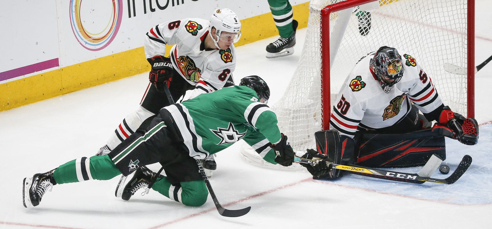 FILE - Stars right wing Alexander Radulov (47) fails to get a shot past Chicago Blackhawks goaltender Corey Crawford (50) during the third period of a game on Sunday, Feb. 23, 2020, at American Airlines Center in Dallas.
