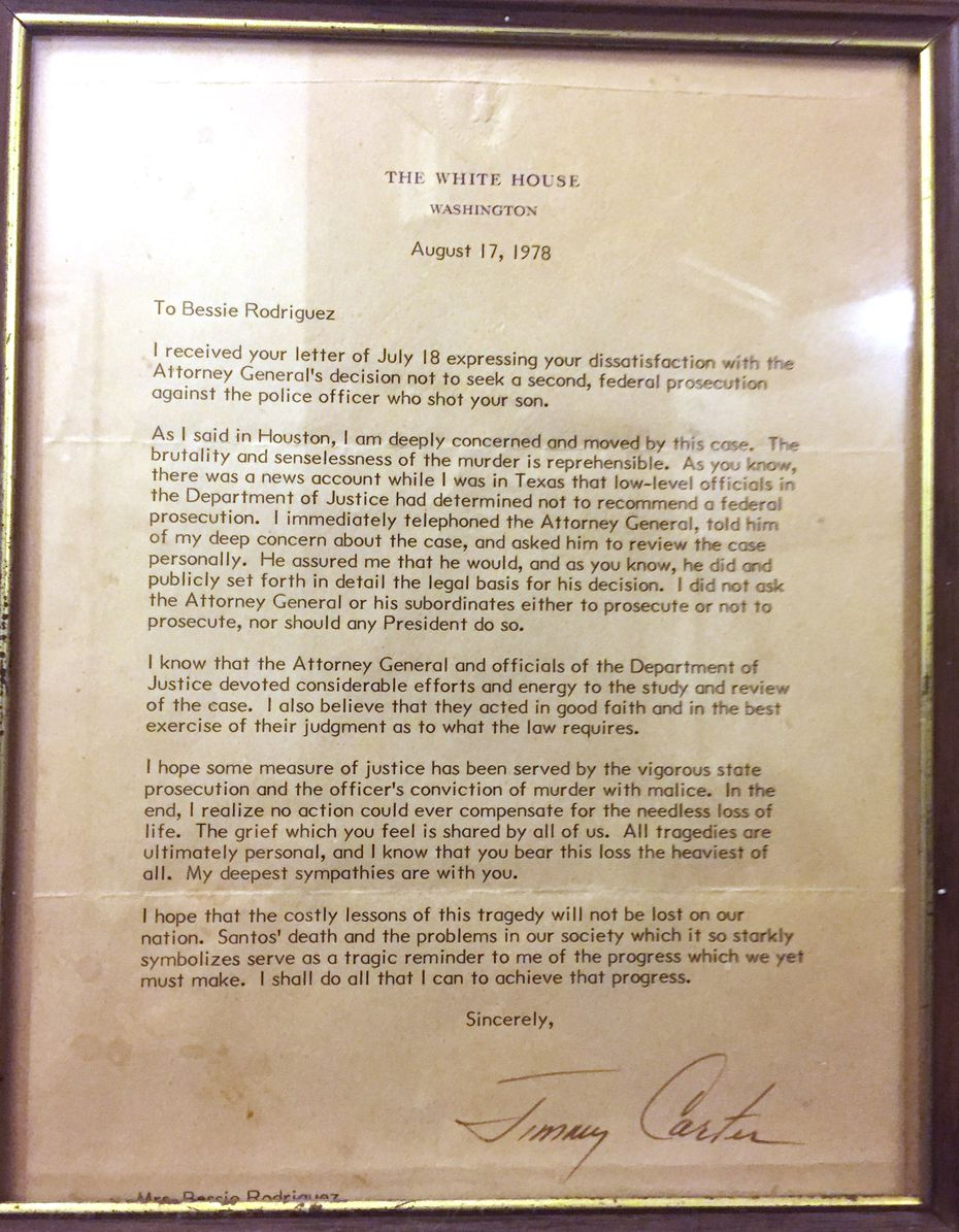 Bessie Rodriguez framed this 1978 letter from President Jimmy Carter concerning her son's death.