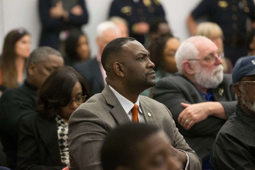Dallas City Councilman Casey Thomas listens as people ask questions during a town hall meeting to discuss the Citizens Police Review Board at Highland Hills Library in Dallas on Thursday, January 17, 2019.  (Daniel Carde/The Dallas Morning News)