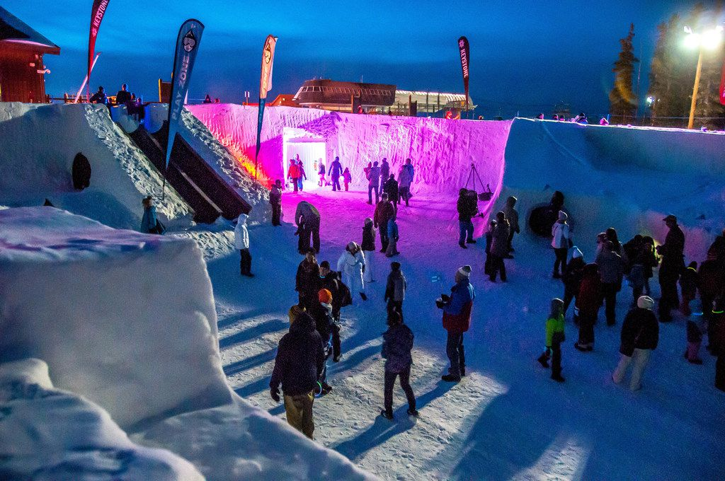 The Snow Fort at Keystone will be festively lit on Dec. 22 as part of the resort's monthlong festivities. Covering 7,650 square feet, it has slides, tunnels, a maze, rope climbs and a jail.