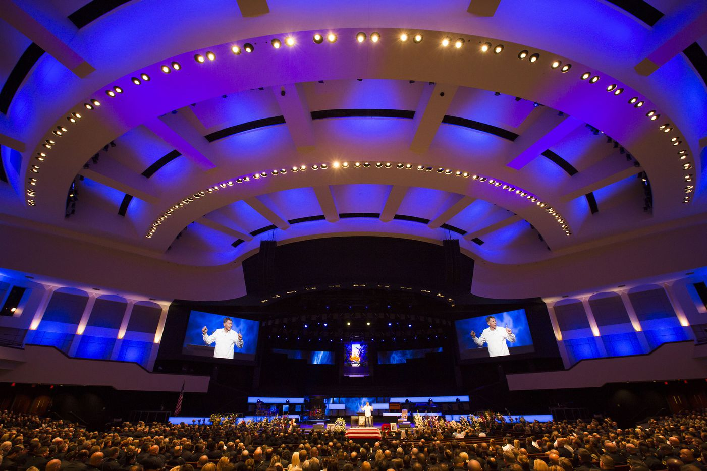 Pastor Rick Owen speaks during funeral services for Dallas police Sr. Cpl. Lorne Ahrens at Prestonwood Baptist Churchon Wednesday, July 13, 2016, in Plano.