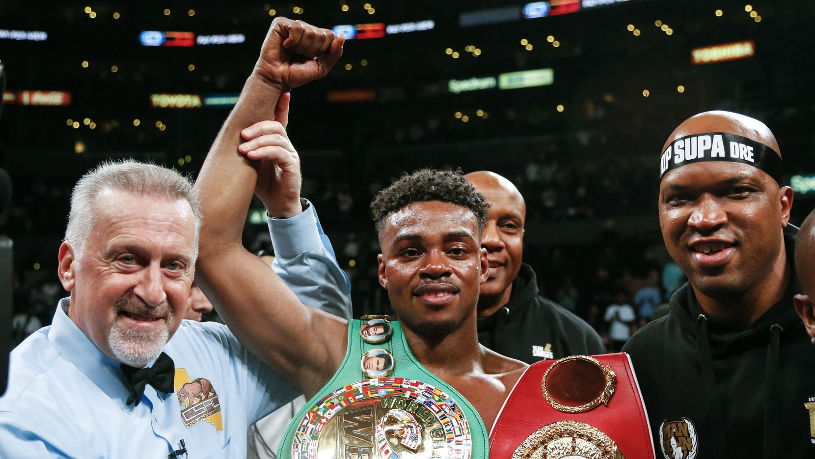 Errol Spence Jr. celebrates his victory over Shawn Porter during the WBC & IBF World Welterweight Championship boxing match Saturday, Sept. 28, 2019, in Los Angeles.