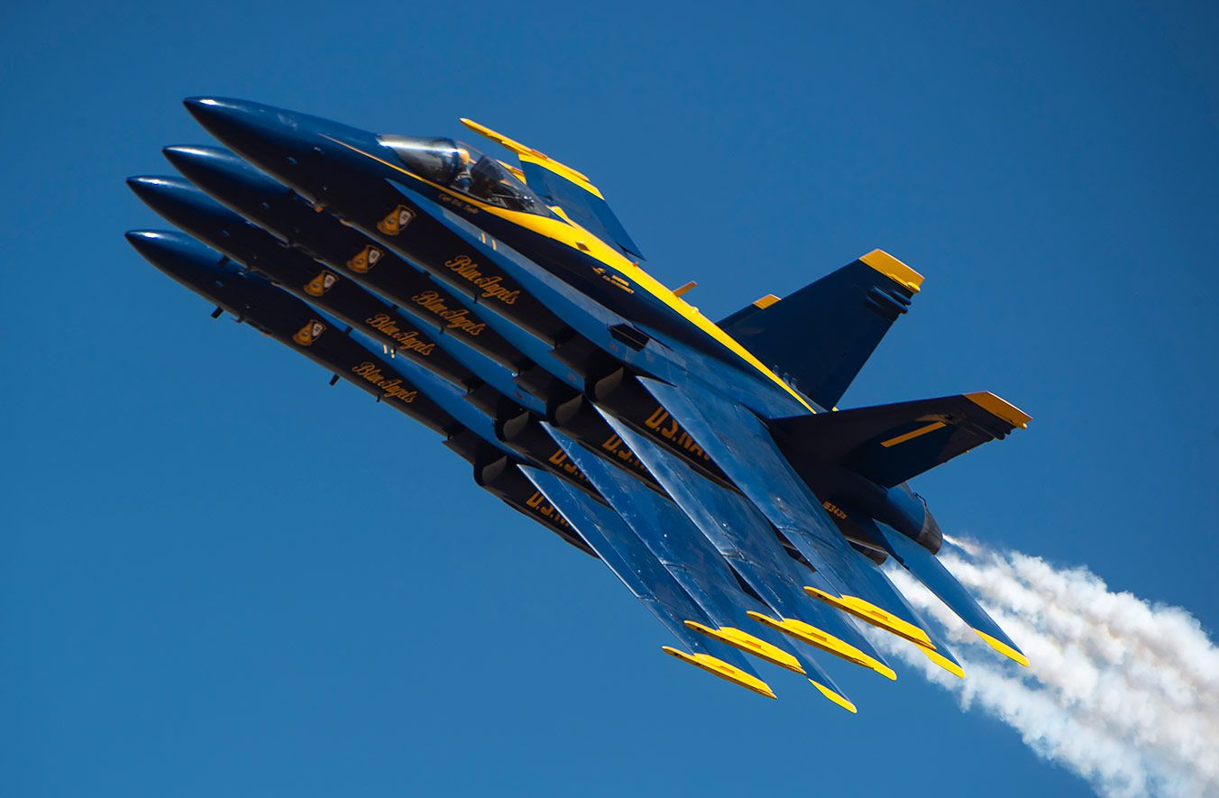 U.S. Navy Blue Angels fighter jets in close formation. The planes are set to fly over Dallas and Fort Worth on Wednesday, May 6.