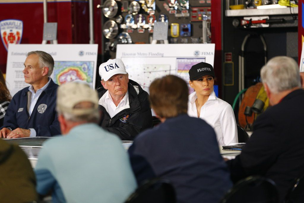 President Donald Trump attends a briefing after Hurricane Harvey in Corpus Christi.