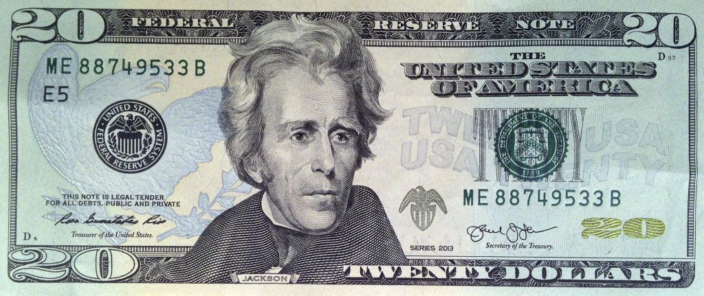 This photo shows the front of the U.S. $20 bill, featuring a likeness of Andrew Jackson, seventh President of the United States. In 2020, his image will be replaced by Harriet Tubman. (U.S. Treasury via AP)