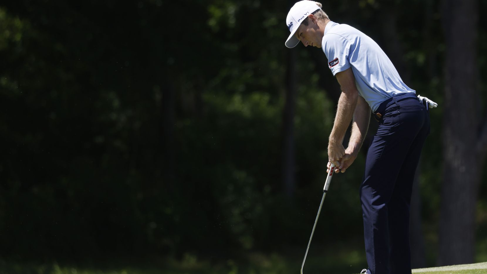 Will Zalatoris watches his putt on the 9th hole during round 1 of the AT&T Byron Nelson  at TPC Craig Ranch on Thursday, May 13, 2021in McKinney, Texas.