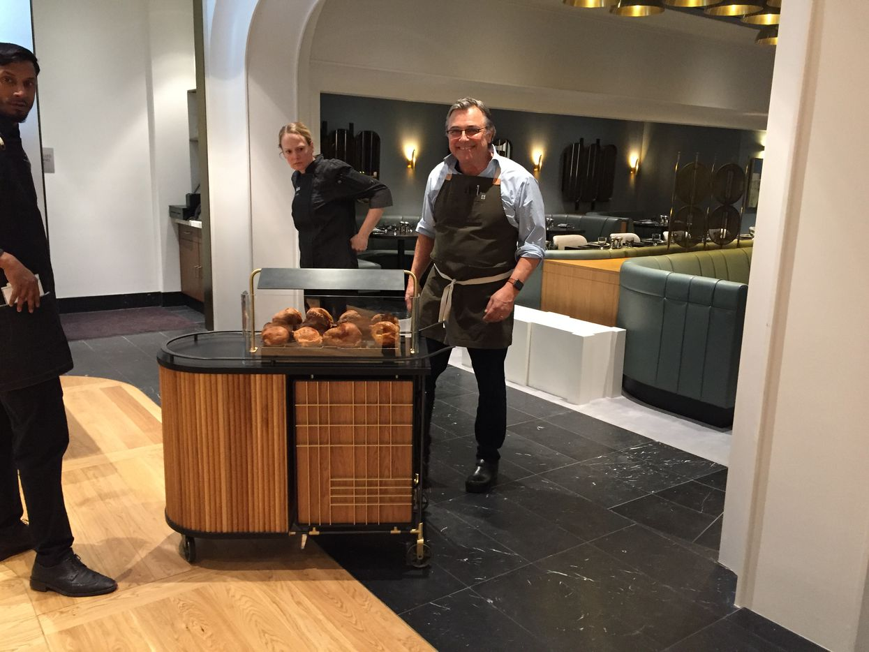 Neiman Marcus executive chef Kevin Garvin with his new popover cart in the Zodiac restaurant that opens Friday in Hudson Yards.