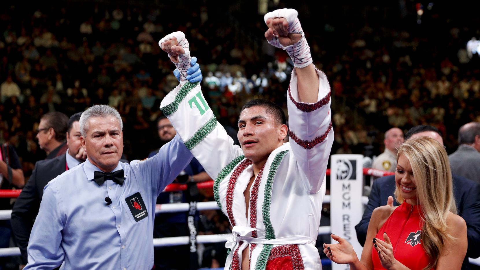 Vergil Ortiz Jr. celebrates his win against Mauricio Herrera in a welterweight boxing match Saturday, May 4, 2019, in Las Vegas.