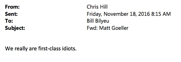 Email sent from Collin County Commissioner Chris Hill to County Administrator Bill Bilyeu.