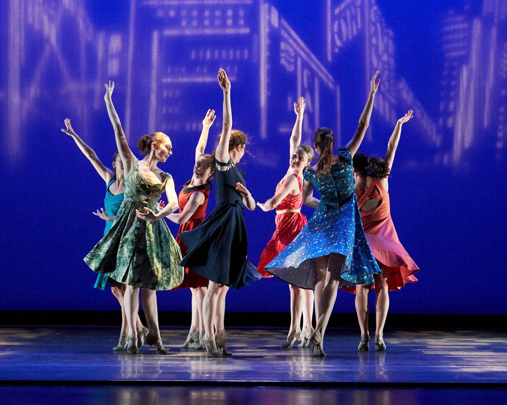 SMU dance students in retiring professor Danny Buraczeski's In the City (2013), one of seven of the choreographer's pieces performed in April at the SMU Spring Dance Concert.