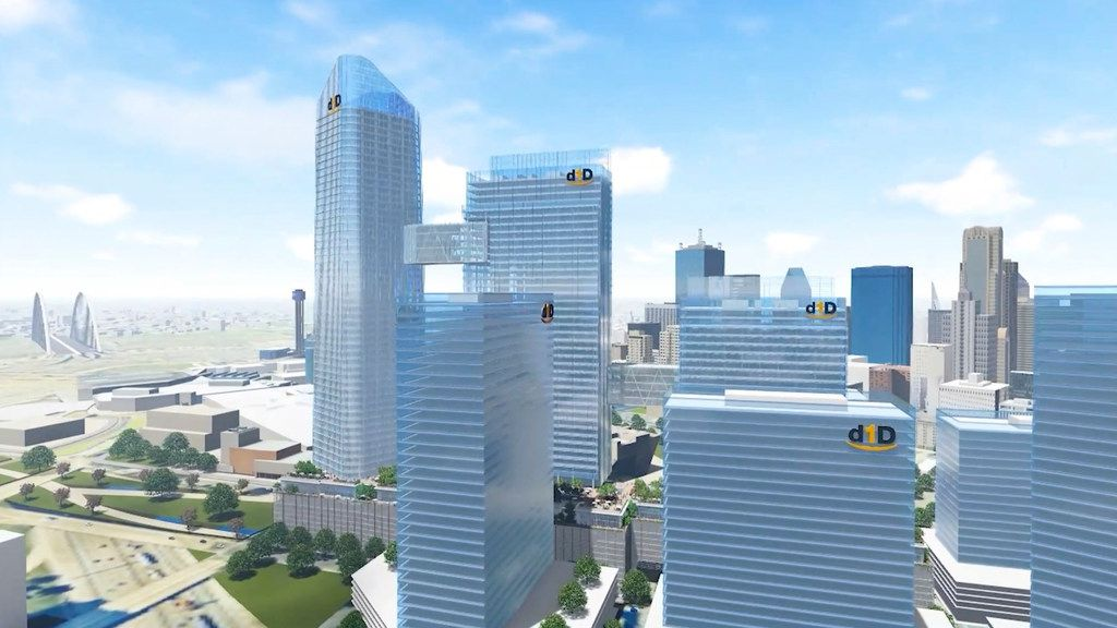 "A conceptual rendering of buildings in the proposed Dallas Day 1 district, pitched to house the second headquarters of retail giant Amazon known as HQ2. The proposal for more than 8 million square feet of office space centered on a 27-acre area south of Dallas City Hall, in a bid put together by Dallas developer KDC and landowner Hoque Global. Designed by award-winning architecture firm Pelli Clarke Pelli, the 10-block development included a row of skyscrapers linked by ""sky bridges"" on the upper floors."