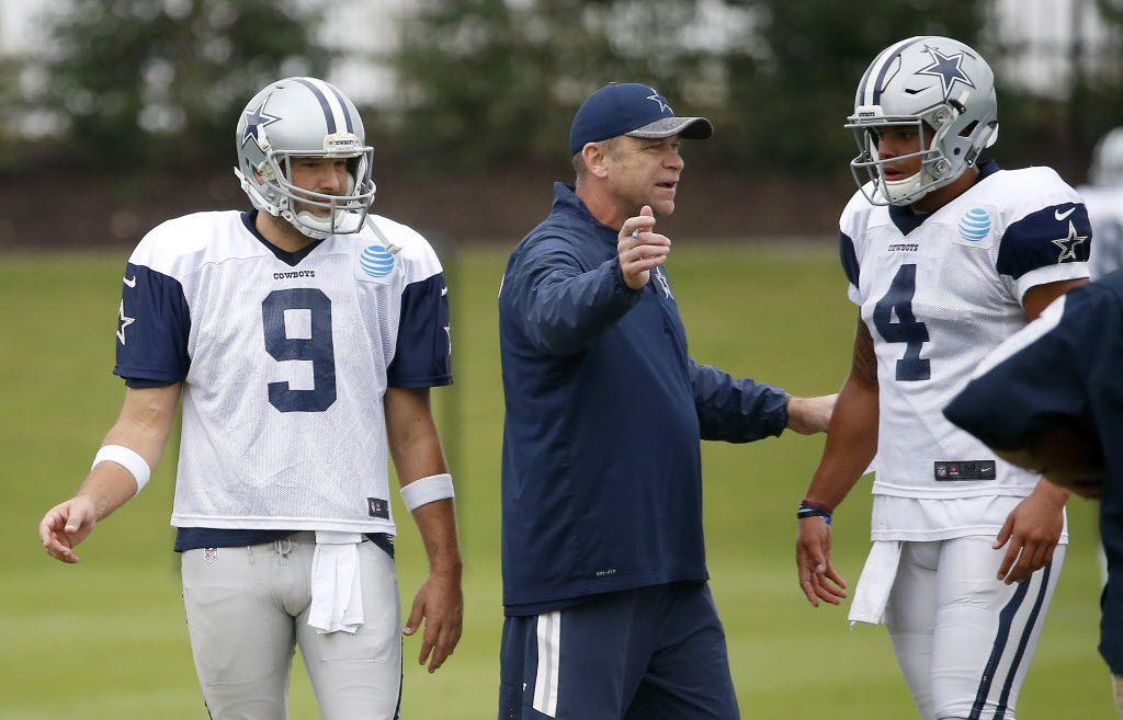 Offensive coordinator Scott Linehan (center) talks with quarterbacks Dak Prescott (4) and Tony Romo (9) during practice at Ford Center at The Star in Frisco, Texas, Wednesday, Nov. 9, 2016. (Jae S. Lee/The Dallas Morning News)