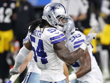 Dallas Cowboys middle linebacker Jaylon Smith (54) celebrates his pass breaks up of Pittsburgh Steelers tight end Eric Ebron during the fourth quarter at AT&T Stadium in Arlington, Texas Sunday, November 8, 2020. The Cowboys lost, 24-19.