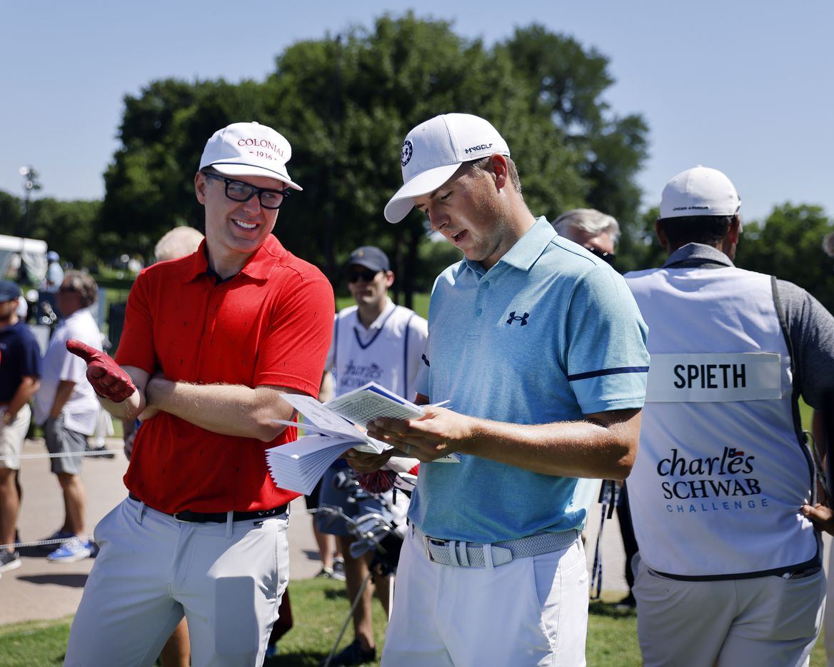 Golfer Jordan Spieth (right) gets talked into a bet by his playing partner and American Idol mentor Bobby Bones (left) before teeing off in the Charles Schwab Challenge Colonial Pro-Am at the Colonial Country Club in Fort Worth, Wednesday, May 26, 2021. (Tom Fox/The Dallas Morning News)
