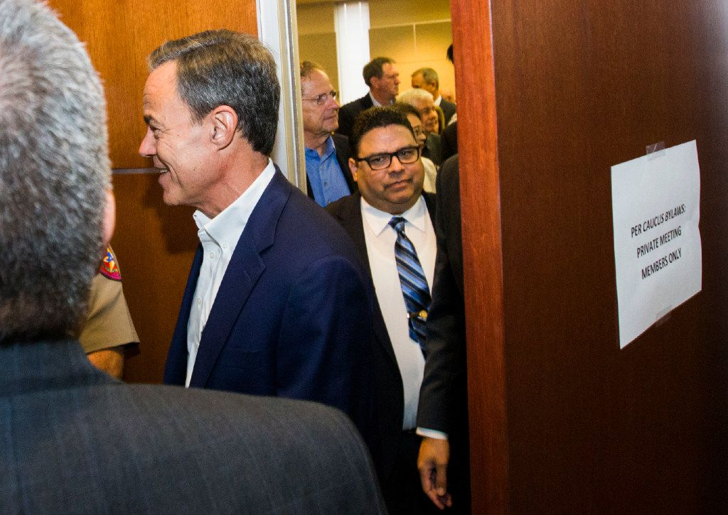 Texas Speaker of the House Joe Straus exited a Republican caucus on Aug. 16, 2017, at the Capitol in Austin.