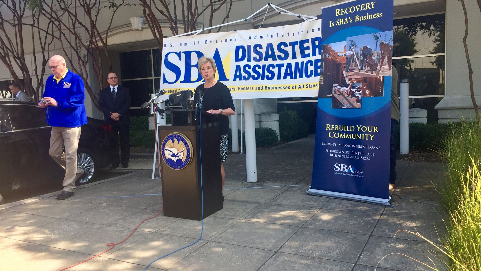 Linda McMahon, administrator of the Small Business Administration, speaks in Fort Worth.