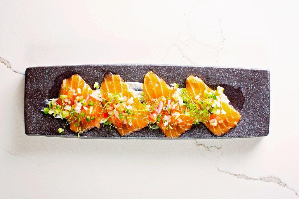 One of the menu items at Kai, an Asian restaurant at Legacy West in Plano, is Salmon Kurudo: horseradish cream, meyer lemon oil, salsa and micro celery.