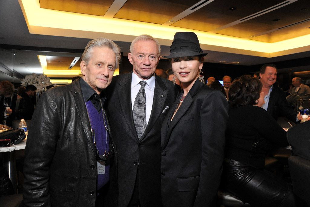 Michael Douglas and Catherine Zeta-Jones with Dallas Cowboys owner Jerry Jones in the Jones suite at Super Bowl XLV on Feb. 6, 2011. (Photo is property of the Dallas Cowboys. Permission to publish required.)