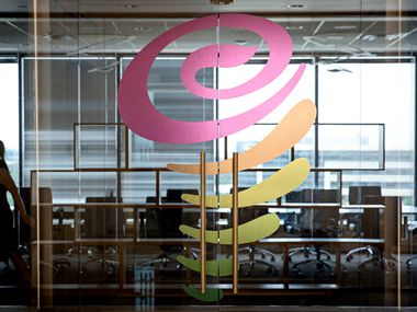 The logo for Jamba Juice is seen on the door to the company's new corporate headquarters Thursday, October 13, 2016 in Frisco, Texas. (G.J. McCarthy/The Dallas Morning News)