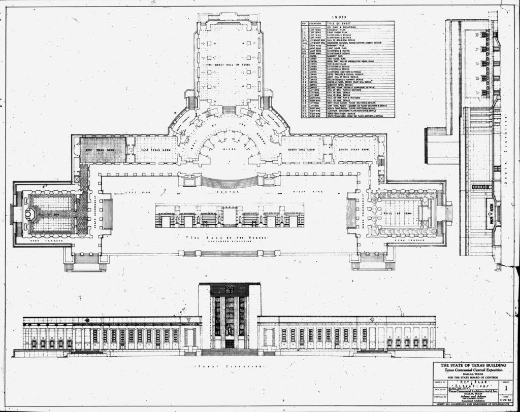 Architectural plan and elevation views of what we now call the Hall of State, labeled here as the State of Texas Building, dated 1935. The building was erected for the Texas Centennial Exposition in 1936. In the floorplan view, the Hall of 1936 is at far right, the Hall of 1836 is at far left, and the Great Hall of Texas is at top.