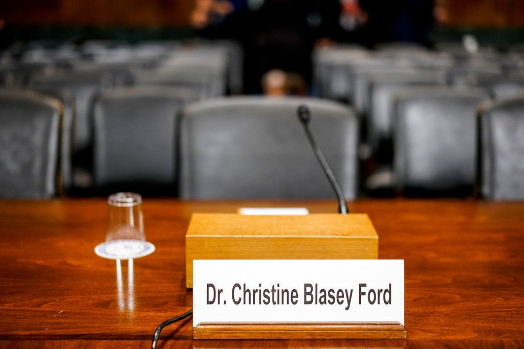 The desk where Christine Blasey Ford will sit in the Senate Judiciary Committee hearing room on Thursday, Sept. 27, 2018 on Capitol Hill. (Melina Mara/Pool Photo via AP)