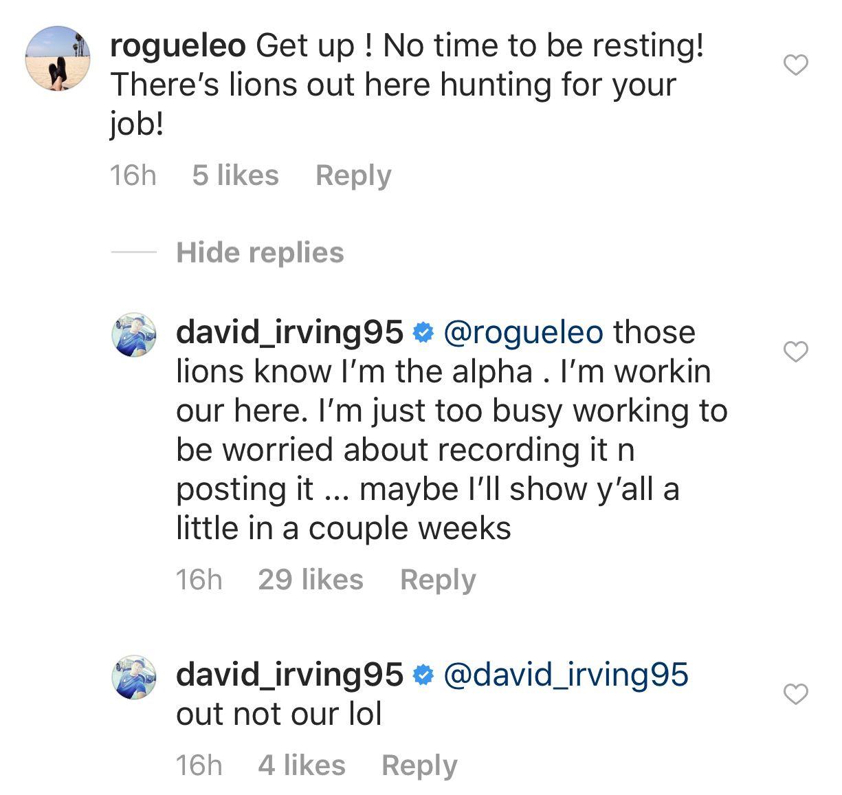 Screenshot from Cowboys defensive lineman David Irving's Instagram.