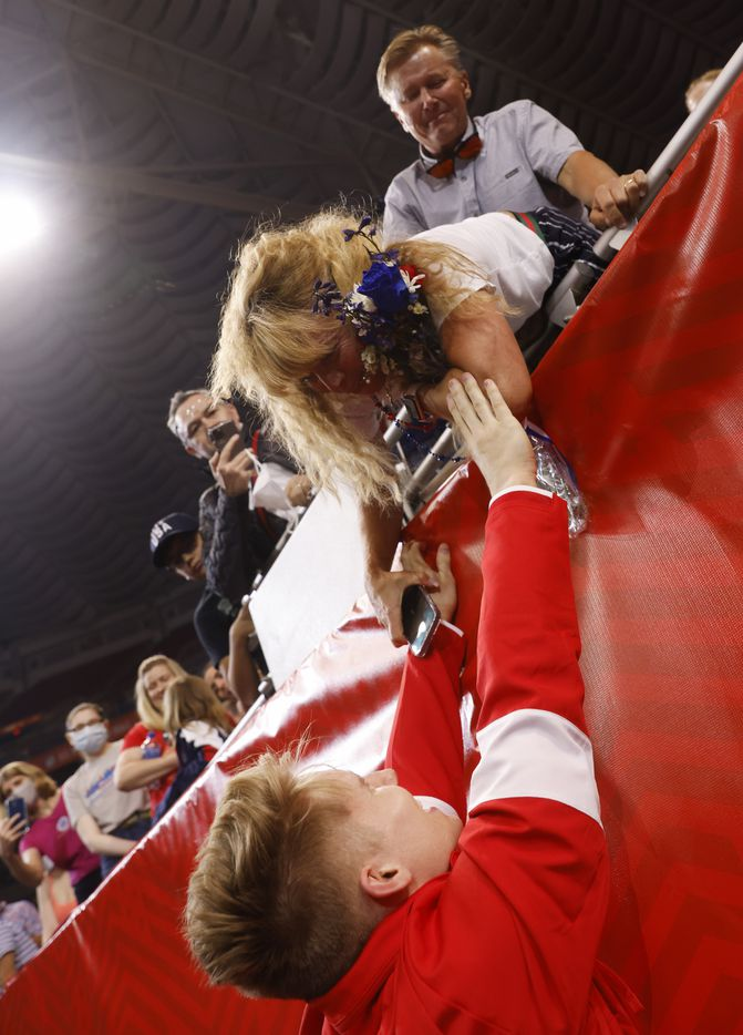 Shane Wiskus visits with his mother after he was announced as a member of the U.S. mens olympic team during day 2 of the men's 2021 U.S. Olympic Trials at America's Center on Saturday, June 26, 2021 in St Louis, Missouri.(Vernon Bryant/The Dallas Morning News)