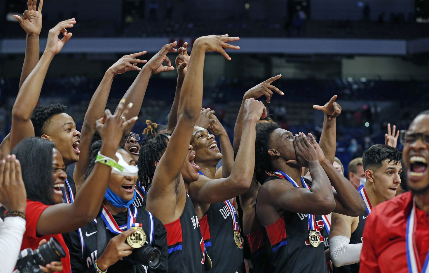 Duncanville celebrates after the game. UIL boys Class 6A basketball state championship game between Duncanville and Austin Westlake on Saturday, March 13, 2021 at the Alamodome.