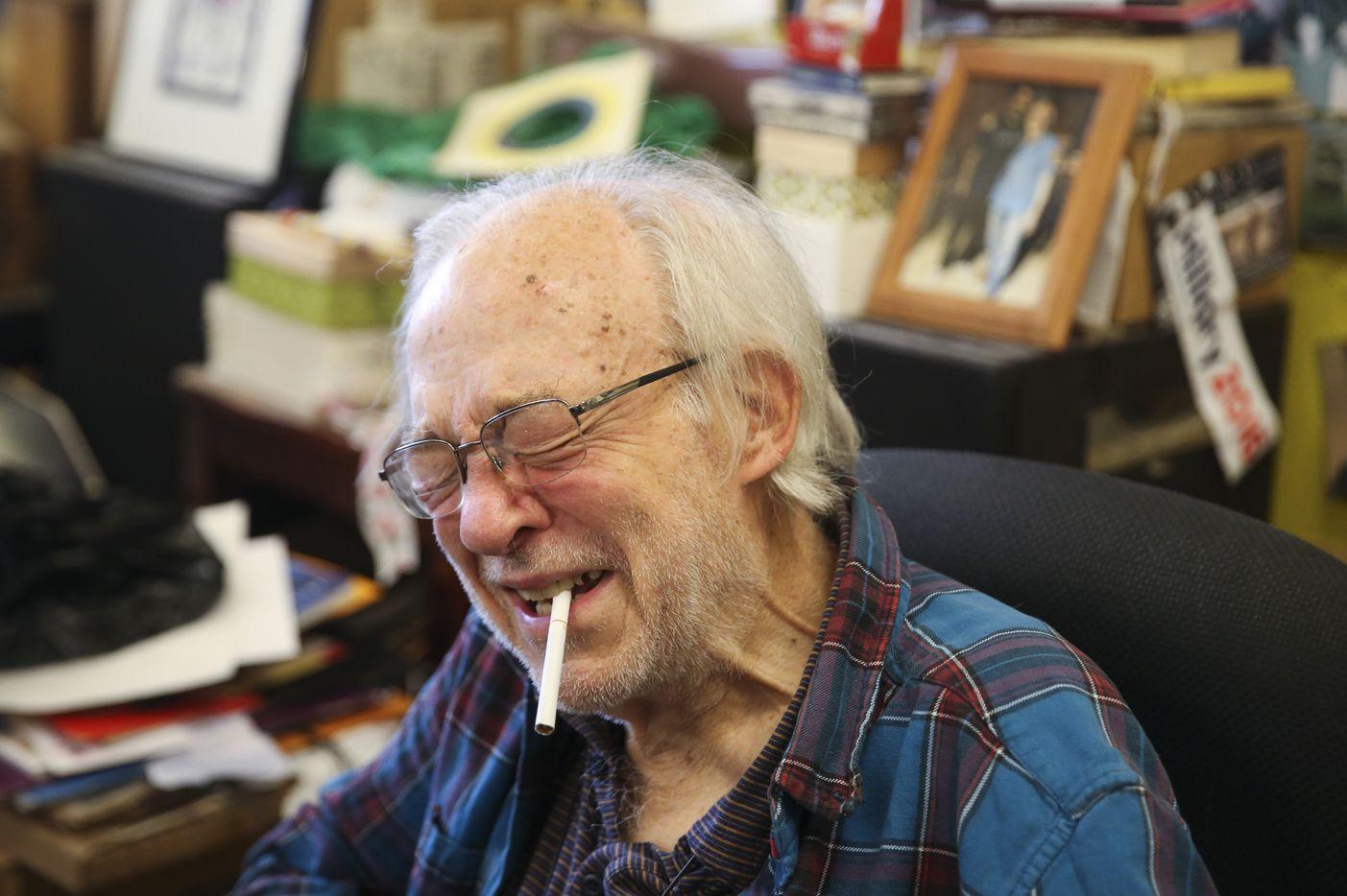 Bill Wisener smokes a cigarette Friday, Nov. 30, 2018 at his store, Bill's Records, in Dallas.
