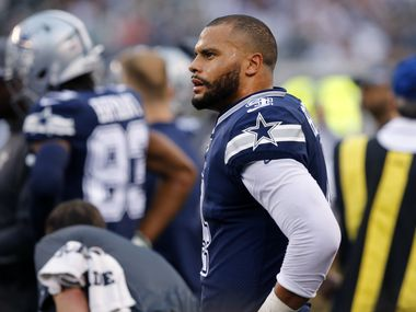 FILE - Cowboys quarterback Dak Prescott (4) stands on the sideline after failing to convert a third down in the first half of a game against the New York Jets at MetLife Stadium in East Rutherford, N.J., on Sunday, Oct. 13, 2019.