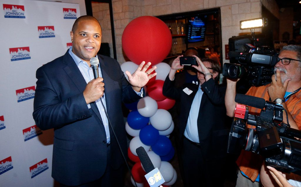 Eric Johnson, the state rep who wants to be Dallas' next mayor, celebrates his early lead during his victory party at the Smoky Rose.