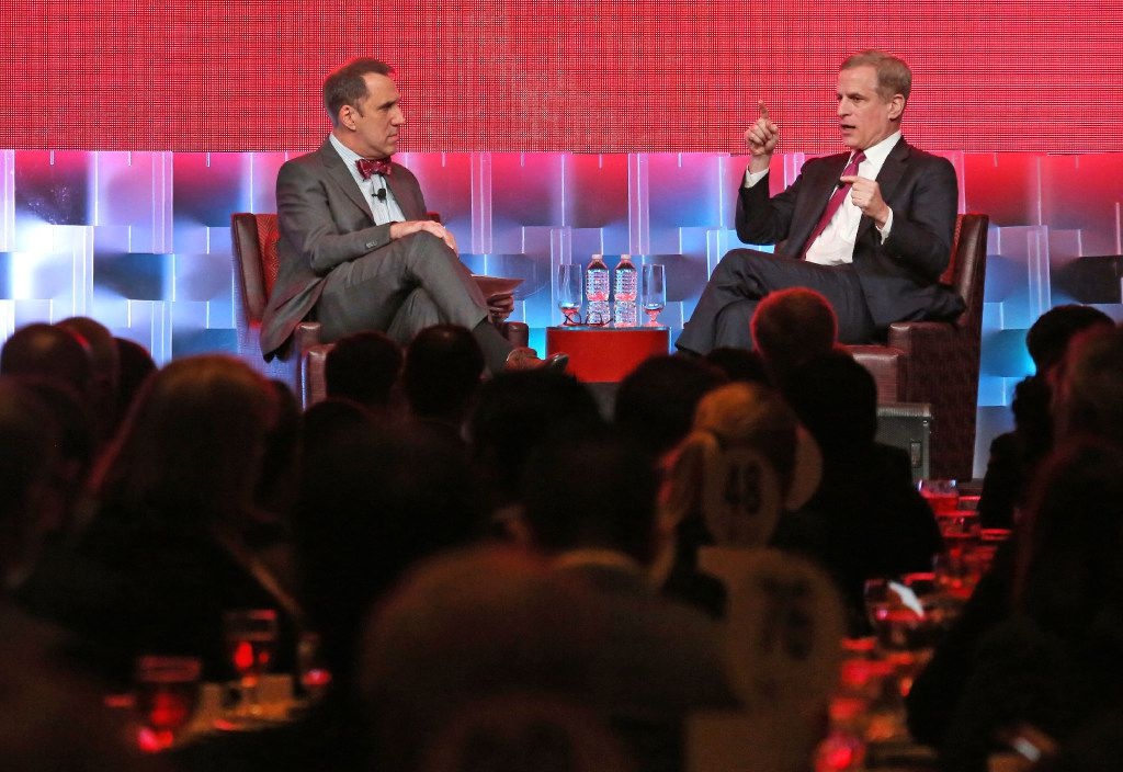 Robert S. Kaplan, President and CEO of the Federal Reserve Bank of Dallas, right, talks with Mike Wilson, editor of the Dallas Morning News, during the Dallas Regional Chamber 2017 Annual Meeting at the Hilton Anatole Hotel in Dallas, photographed on Thursday, January 12, 2017. (Louis DeLuca/The Dallas Morning News)