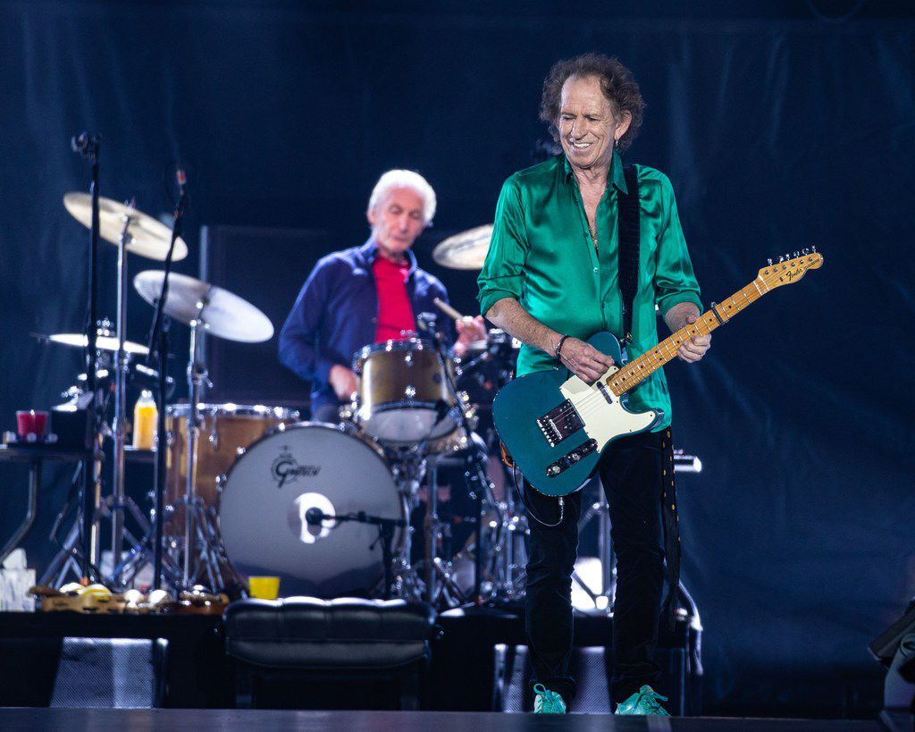 Charlie Watts (left) Keith Richards (right) perform on stage at NRG Stadium on July 27, 2019 in Houston, Texas.