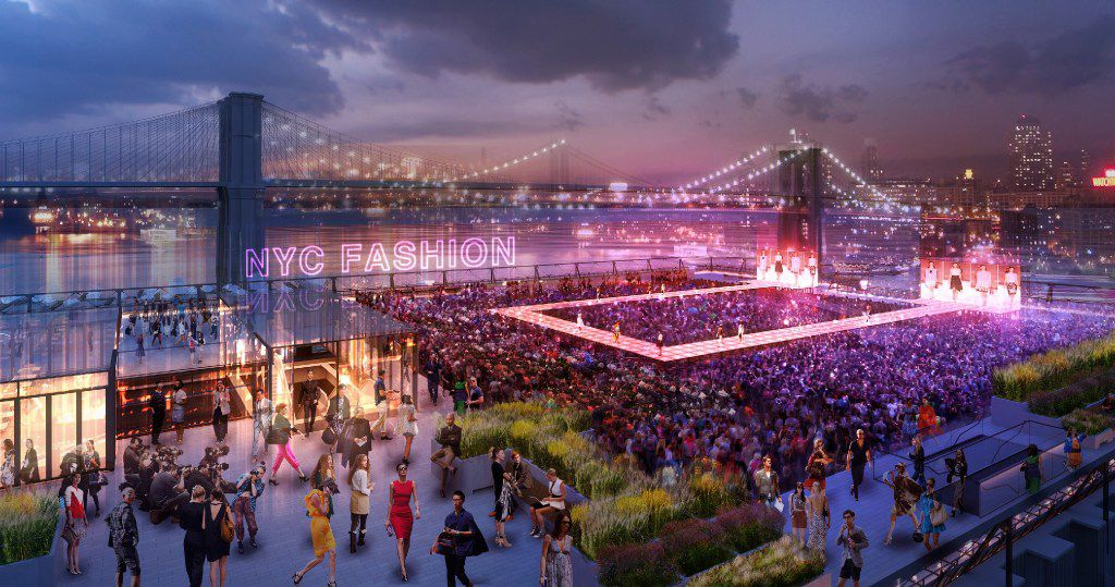 Rendering of a rooftop event space planned for the new Pier 17 building, currently under construction as part of the revitalization of Seaport District, New York s original commercial hub. It's located on the East River in Lower Manhattan. The redevelopment is a project of Dallas-based Howard Hughes Corp.
