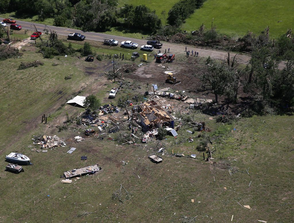 A house is destroyed by yesterday's tornado in Eustace, Texas, Sunday, April 30, 2017.