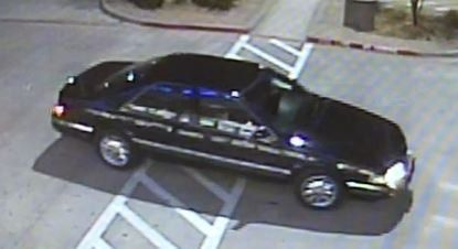 This black car left a McKinney shopping center parking lot after striking a pedestrian in February.