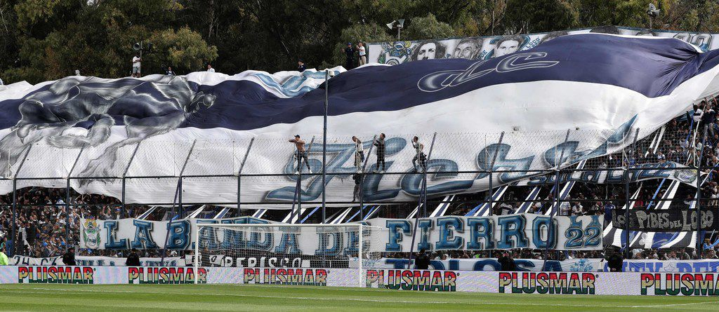 Supporters of Gimnasia cheer for their team during the first training session of the team with Argentine former football star Diego Armando Maradona as new coach at El Bosque stadium, in La Plata, Buenos Aires province, Argentina, on September 8, 2019. (Photo by ALEJANDRO PAGNI / AFP)ALEJANDRO PAGNI/AFP/Getty Images