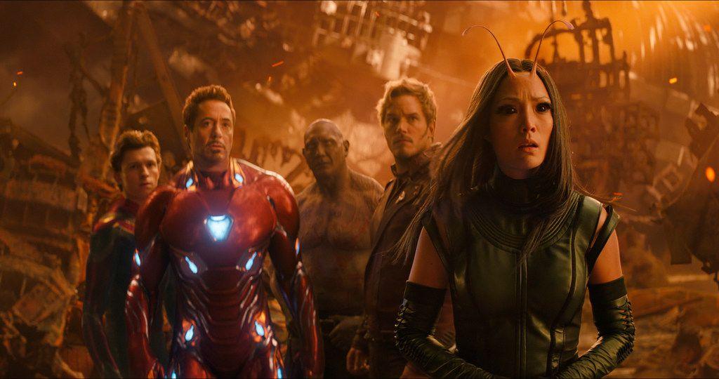 "Tom Holland, Robert Downey Jr., Dave Bautista, Chris Pratt and Pom Klementieff in a scene from ""Avengers: Infinity War."""