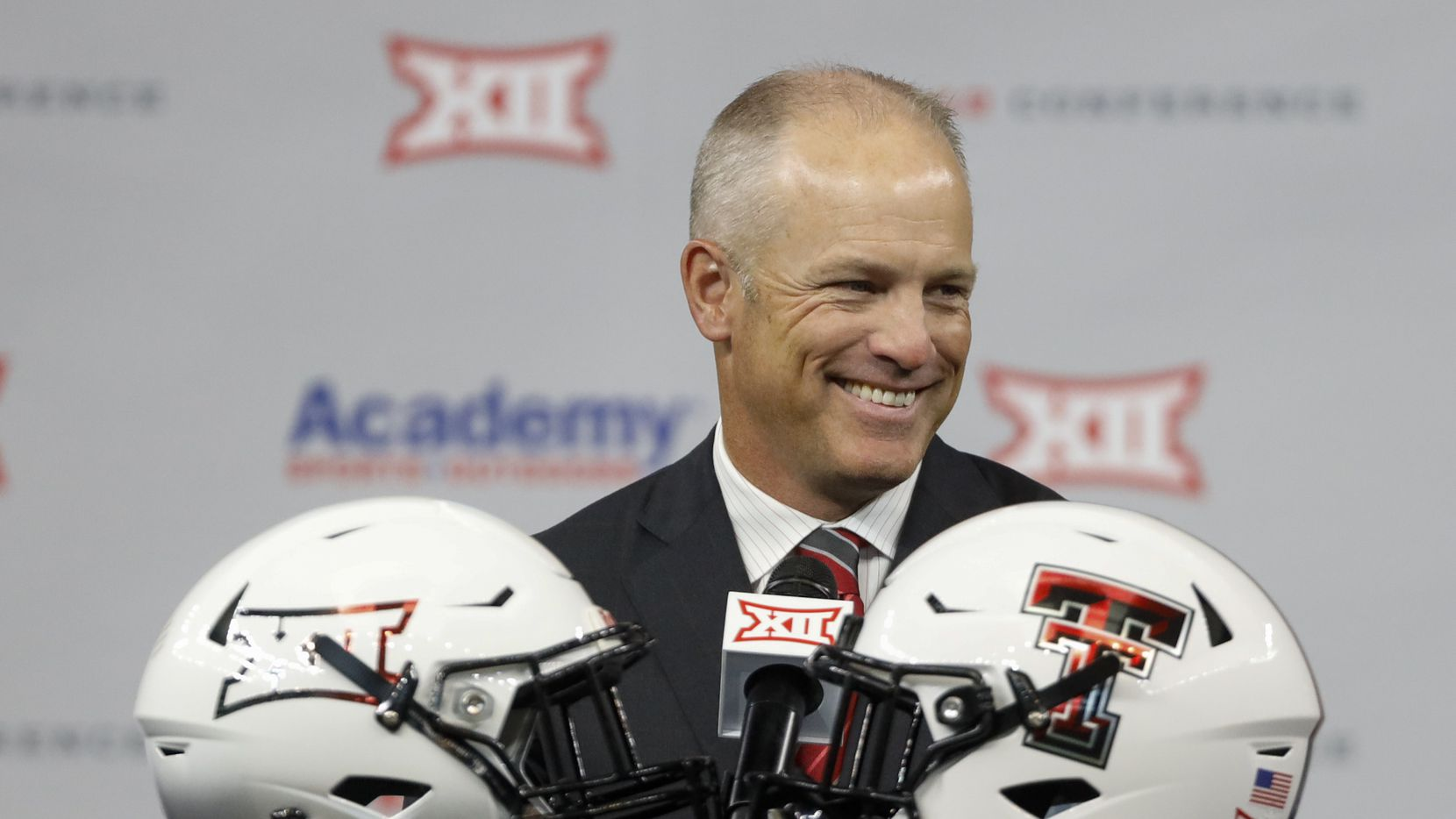 Texas Tech head football coach Matt Wells reacts during the Big 12 Conference Media Days at AT&T Stadium on Thursday, July 15, 2021, in Arlington.