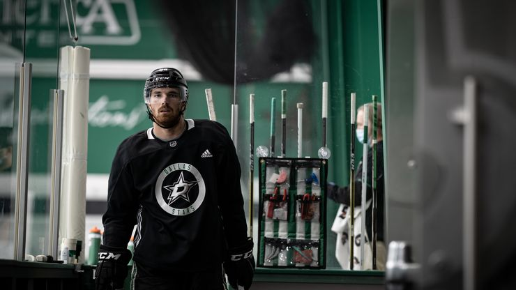 Stephen Johns (28) is seen as the Dallas Stars opened postseason training camp at the Comerica Center, Monday July 13, 2020 in Frisco, Texas. The Dallas team was together in the same building for the first time Monday since the NHL went on hiatus due to the coronavirus pandemic.