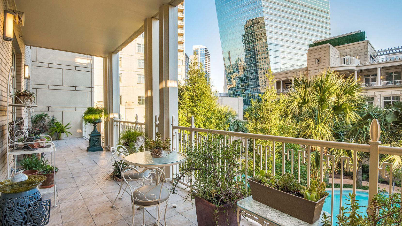 The home at 2555 N. Pearl St., unit 202 at the Ritz-Carlton Residences of Dallas offers views of the pool.