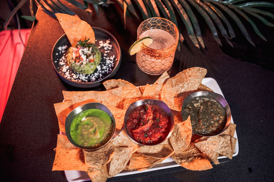 Salsas at Chido Taco Lounge are (from left) are Salsa Verde Cruda, Salsa Mesa and Salsa Fresca. The restaurant also serves several margaritas, including the one pictured: the Chido Margarita.
