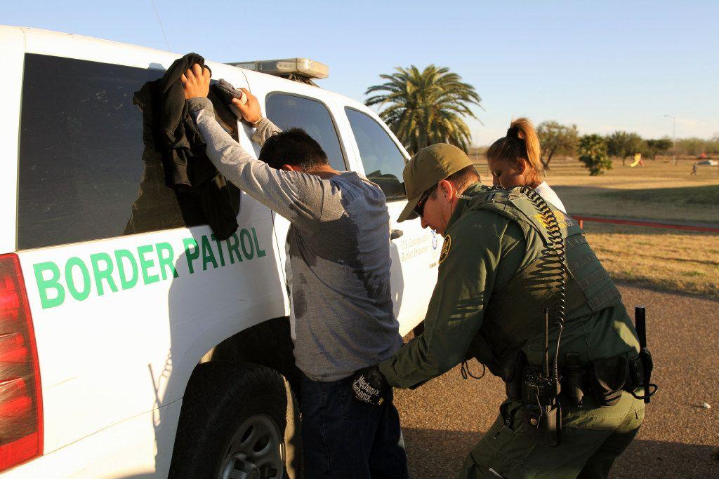 A Border Patrol agent took a Mexican man into custody for illegally entering the U.S. on Feb. 9, 2016, by crossing the Rio Grande near Rio Grande City, Texas.