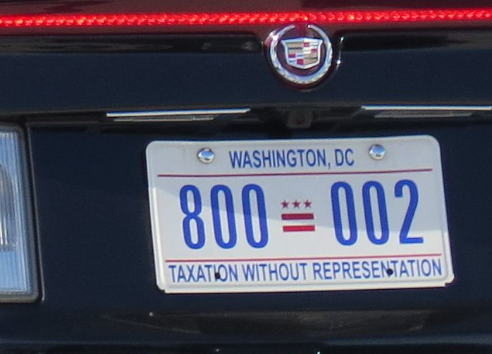 """The District of Columbia has long pushed for statehood, adding the phrase """"Taxation Without Representation"""" to its license plates in 2000. Such plates have adorned the armored limousines used by presidents, including this one used by Donald Trump, as seen on Aug. 27, 2019. (Todd J. Gillman/Staff)"""