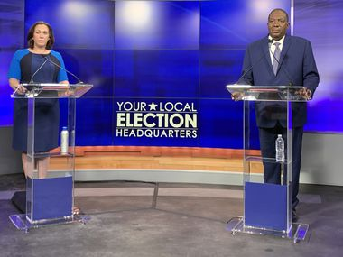 MJ Hegar (left), Democratic candidate for Senate speaks next to Texas State Senator and Democratic candidate for Senate Royce West (right) during a debate in Austin, Texas on Saturday, June 6, 2020. (Gromer Jeffers Jr.)