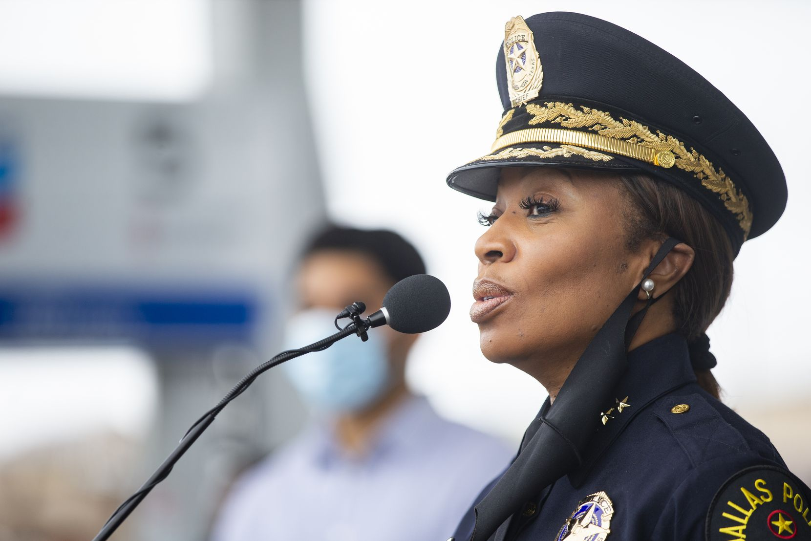 Dallas Police Chief U. Reneé Hall spoke at a news conference about the expansion of their camera-monitoring pilot program called Starlight at a Chevron gas station at 9791 Forest Lane on Tuesday, Sept. 22, 2020, in Dallas. (Juan Figueroa/ The Dallas Morning News)