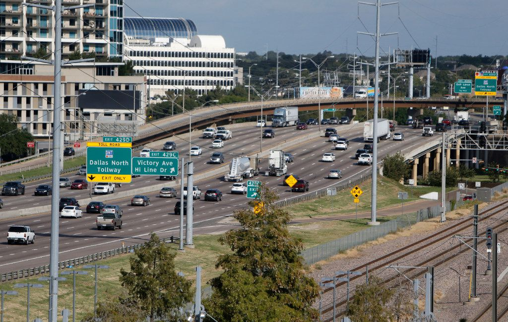 Interstate 35E north of downtown Dallas on Tuesday