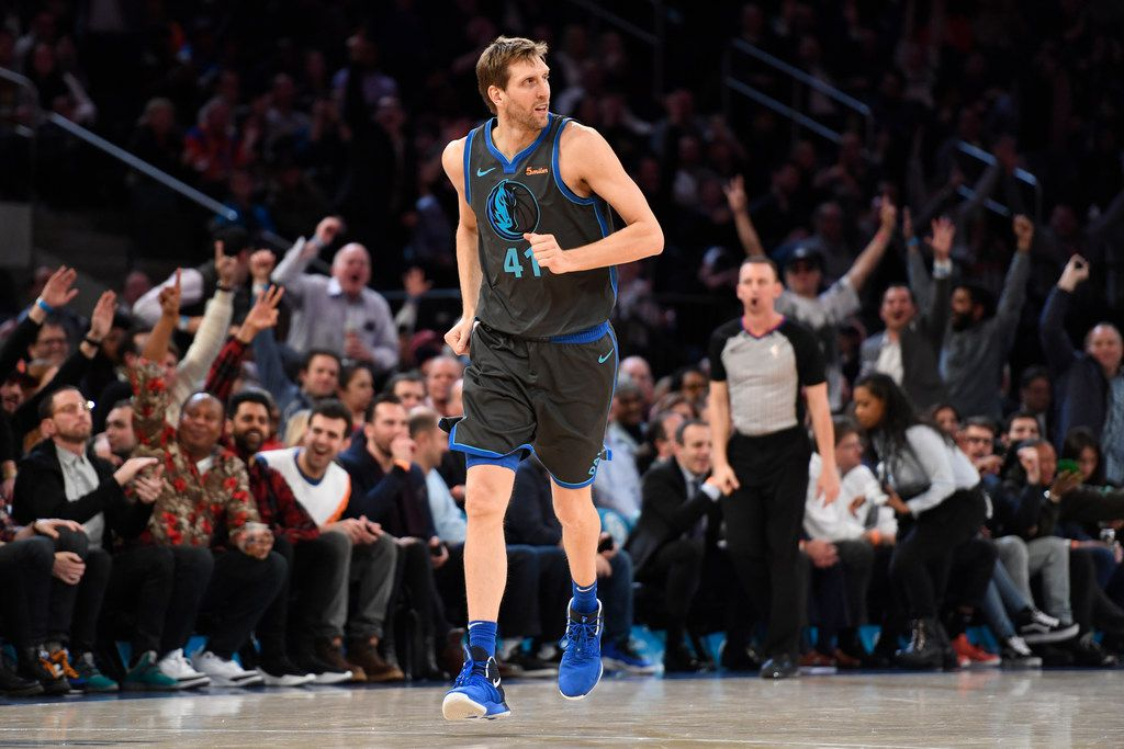 NEW YORK, NEW YORK - JANUARY 30: Dirk Nowitzki #41 of the Dallas Mavericks reacts after scoring during the fourth quarter of the game against the New York Knicks at Madison Square Garden on January 30, 2019 in New York City. Nowitzki is retiring this year after 21 years in the league. (Photo by Sarah Stier/Getty Images)